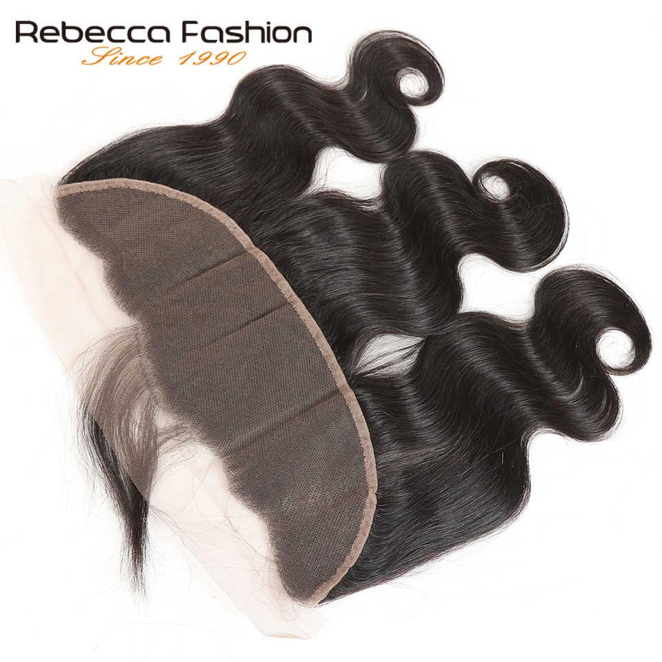 Rebecca Brezilyalı Remy Saç Vücut Dalga Dantel Frontal 13x4 Insan Saçı Kapatma Kulak Dantel Kapatma 8 20 inç Doğal Siyah