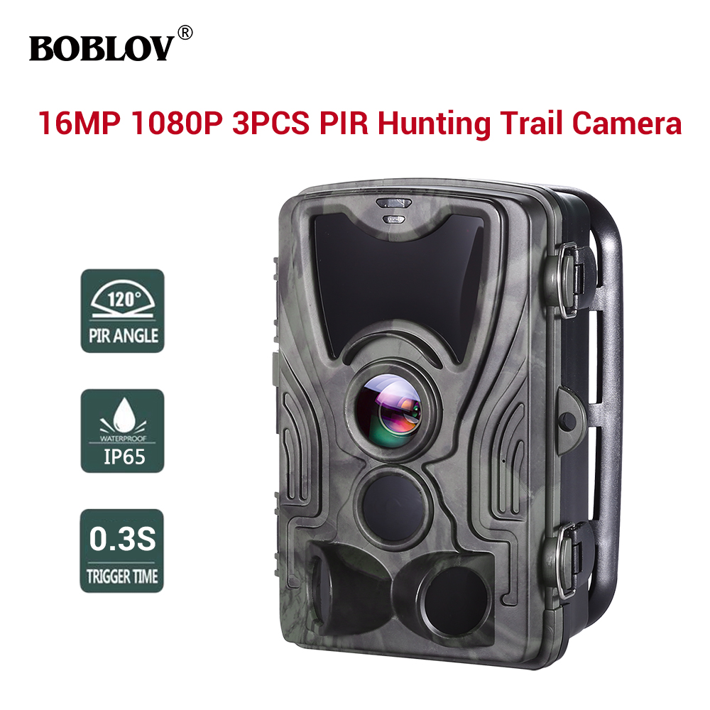 BOBLOV Hunting Camera 16MP Trail Camera Night Version Ip65 Wildlife Surveillance Camera in Hunting Cameras from Sports Entertainment