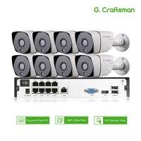 Умный 8ch 5MP POE IP системный комплект для фотокамеры H.265 безопасности POE NVR до 16ch открытый Водонепроницаемый CCTV Cam Видео сигнала тревоги P2P г. маст...