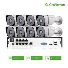 Inteligente 8ch 5MP cámara IP POE Kit de sistema H.265 seguridad POE NVR para 16ch impermeable al aire libre cámara CCTV de alarma video P2P G artesano