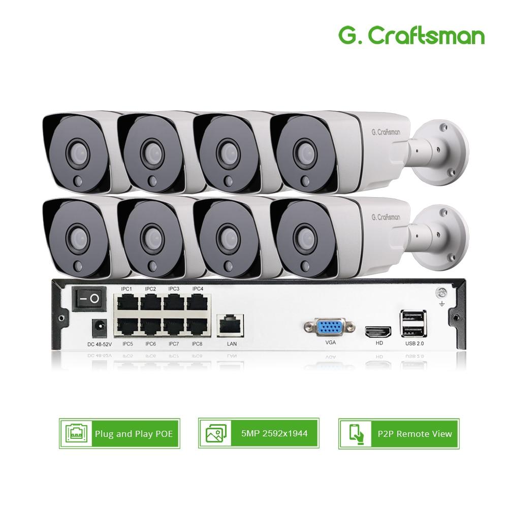 Inteligente 8ch POE NVR Segurança Kit Sistema de Câmera IP POE 5MP H.265 até 16ch CCTV Impermeável Ao Ar Livre Alarme Cam vídeo P2P G. artesão