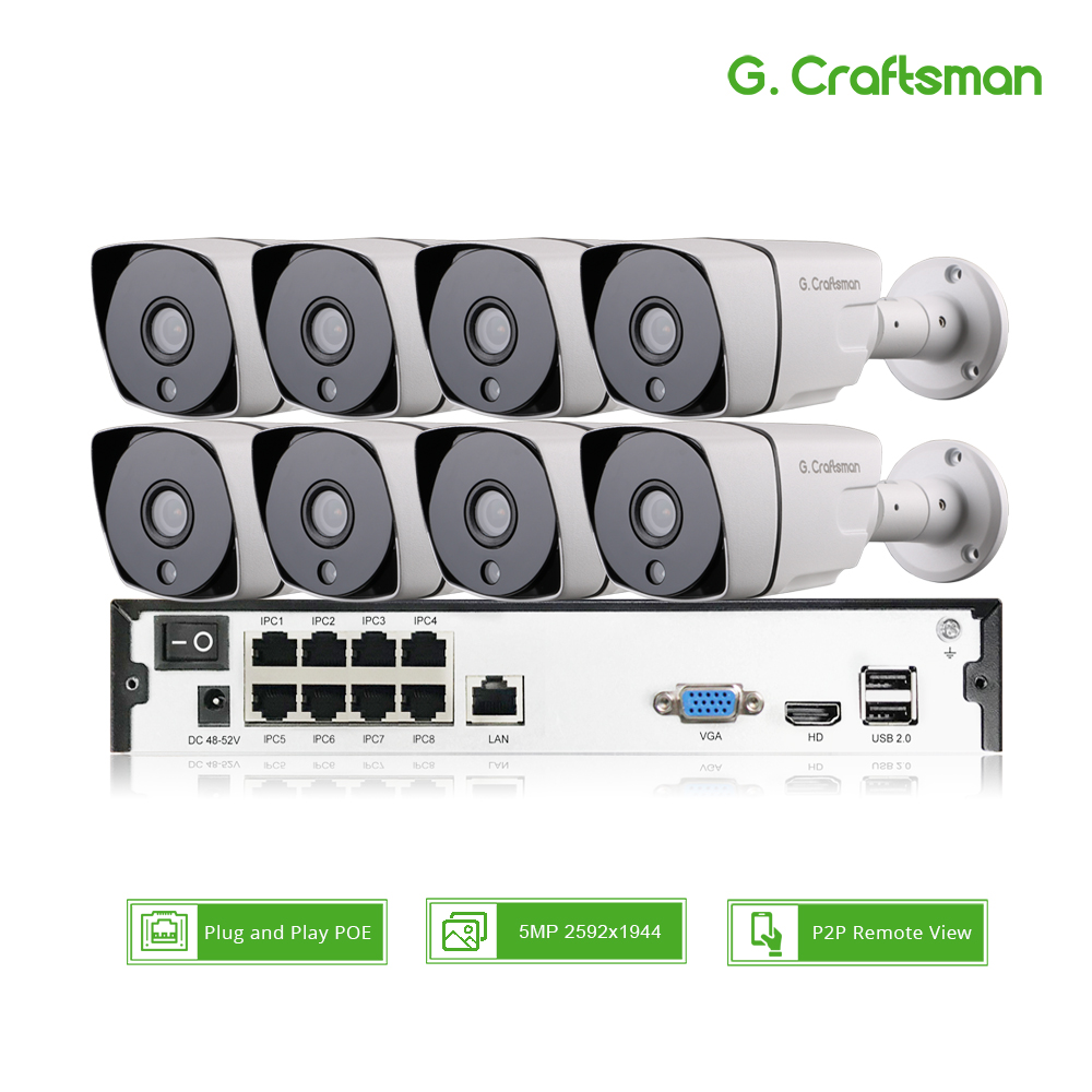 Smart 8ch 5MP POE IP Camera System Kit H.265 Security POE NVR up to 16ch Outdoor Waterproof CCTV Cam Alarm Video P2P G.Craftsman