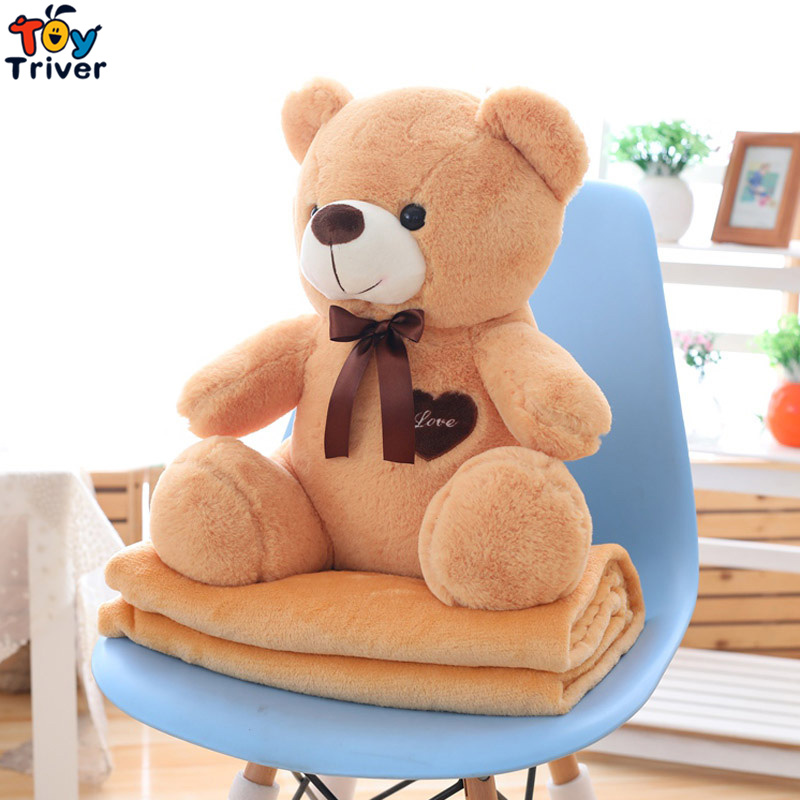 Plush Teddy Bear Portable Blanket Toy Doll Baby Kids Shower Car Travel Rug Office Nap Carpet Birthday Christmas Gift Home Decor лак для ногтей розовое драже
