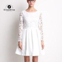 Luxury Dress 2017 Runway Womens Fashion Lace Dresses Long Sleeve White Mini Dress