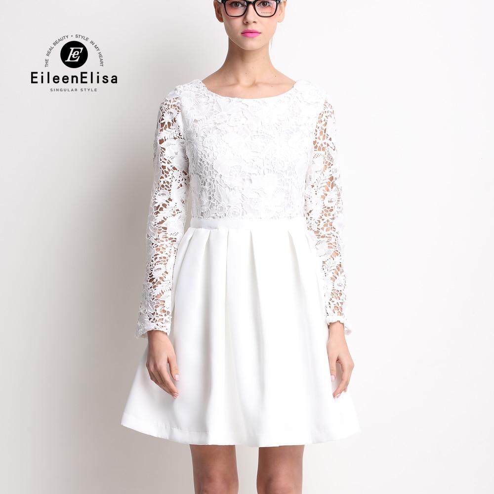 Robe de luxe 2017 piste femmes mode dentelle robes à manches longues blanc Mini robe