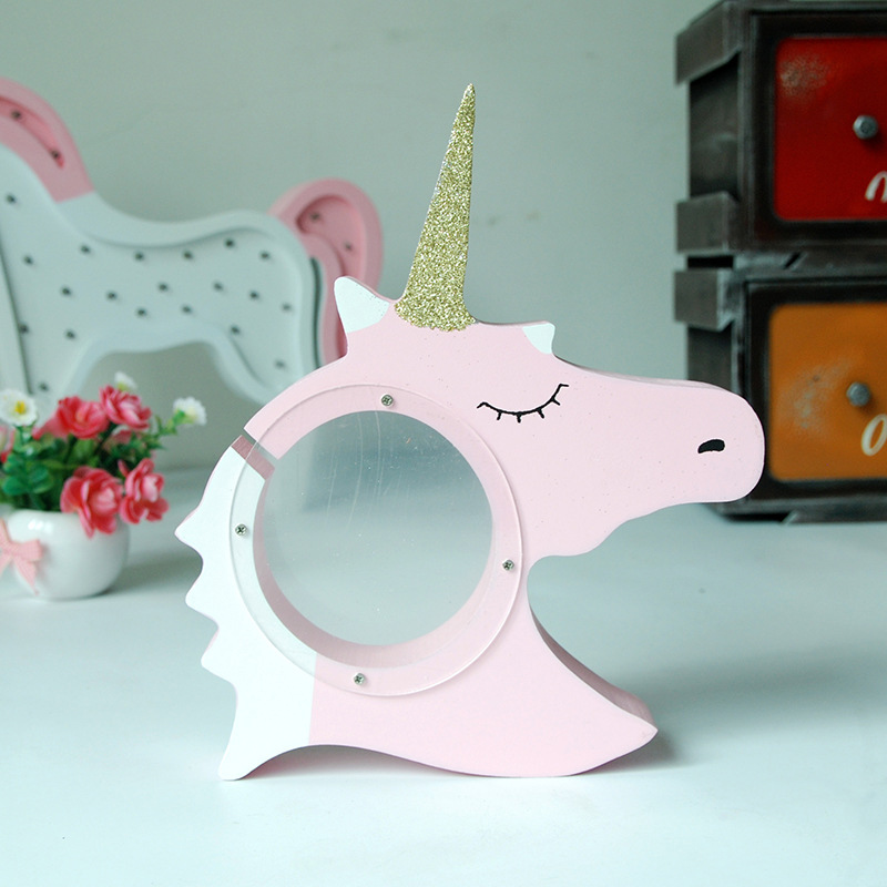 CUTIEPIE Unicorn Piggy Bank for Coins Wood Craft Gift Kids Party Favors DIY Table Centerpieces Decorations for Home Money Box