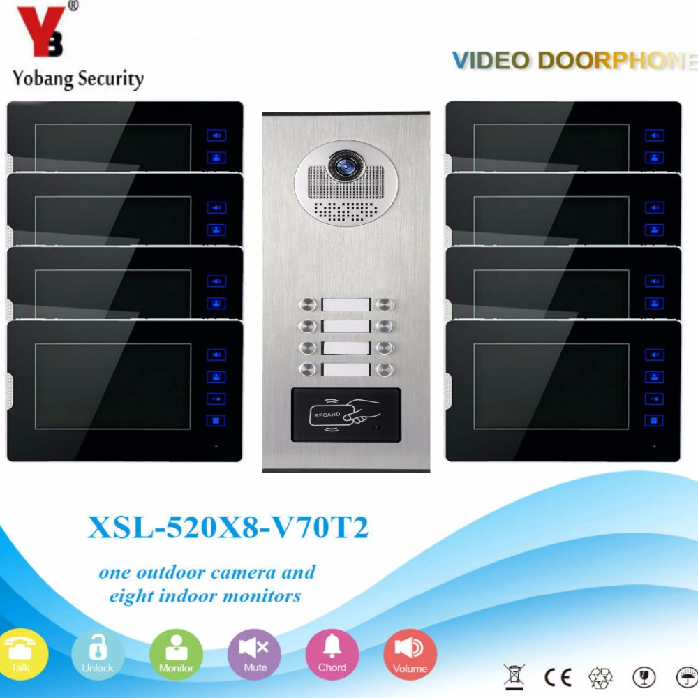 YobangSecurity 1 Camera 8 Monitor Video Intercom 7Inch Video Door Phone Doorbell Chime RFID Access Control For Home Security new 7 inch color video door phone bell doorbell intercom camera monitor night vision home security access control