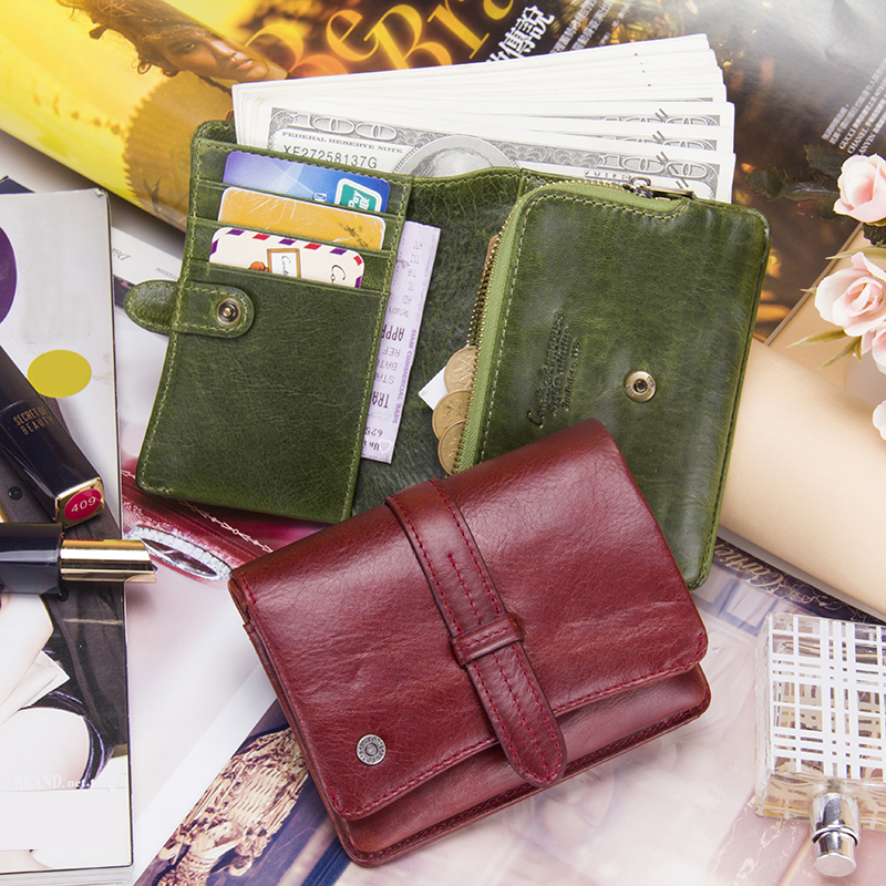 Contact's 2018 Genuine Leather Women Wallet And Purses Coin Purse Female Small Portomonee Wallets Card Holder Money Bag For Girl st luce sl801 sl801 603 05