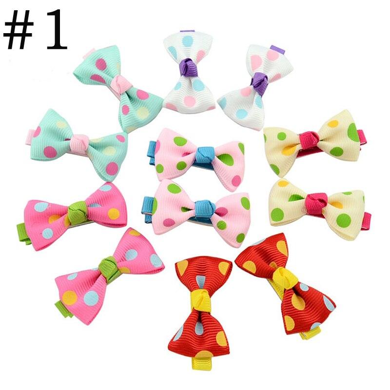 HTB1RGg5PVXXXXXMXFXXq6xXFXXX5 Trendy Girls Candy Color Dot Flower Print Ribbon Bow Hair Clips - 7 Styles