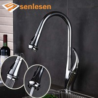 Senlese Newly Product Chrome Finish Pull Out Kitchen Faucet Dual Functions Sprayer