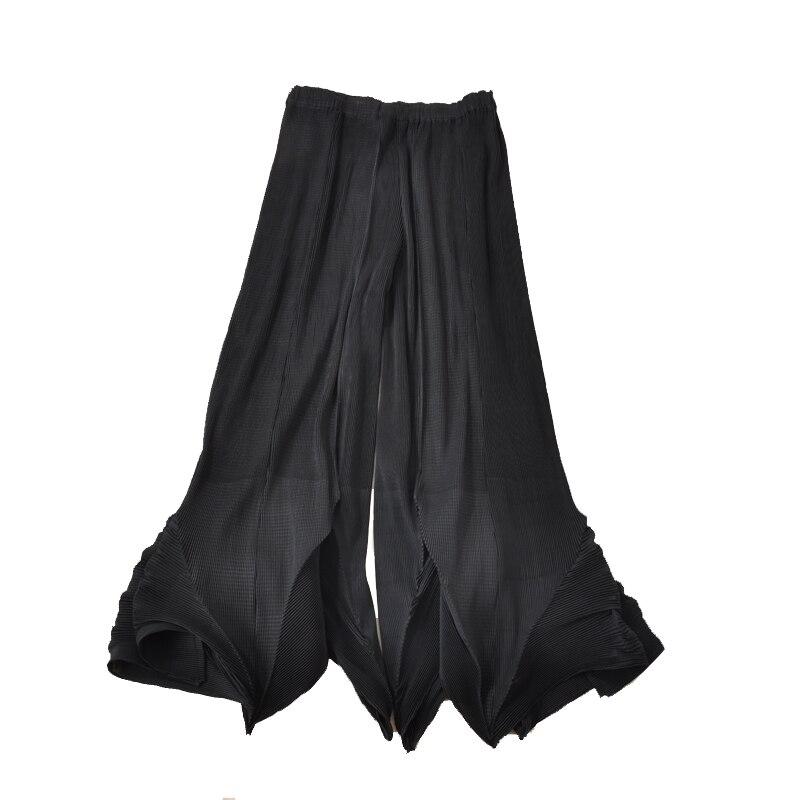 Couleur Noir Large Lâche Pantalon Femmes Printemps Legging ardoisé Plissé navy Blue Fold Solide 4Ozqwx