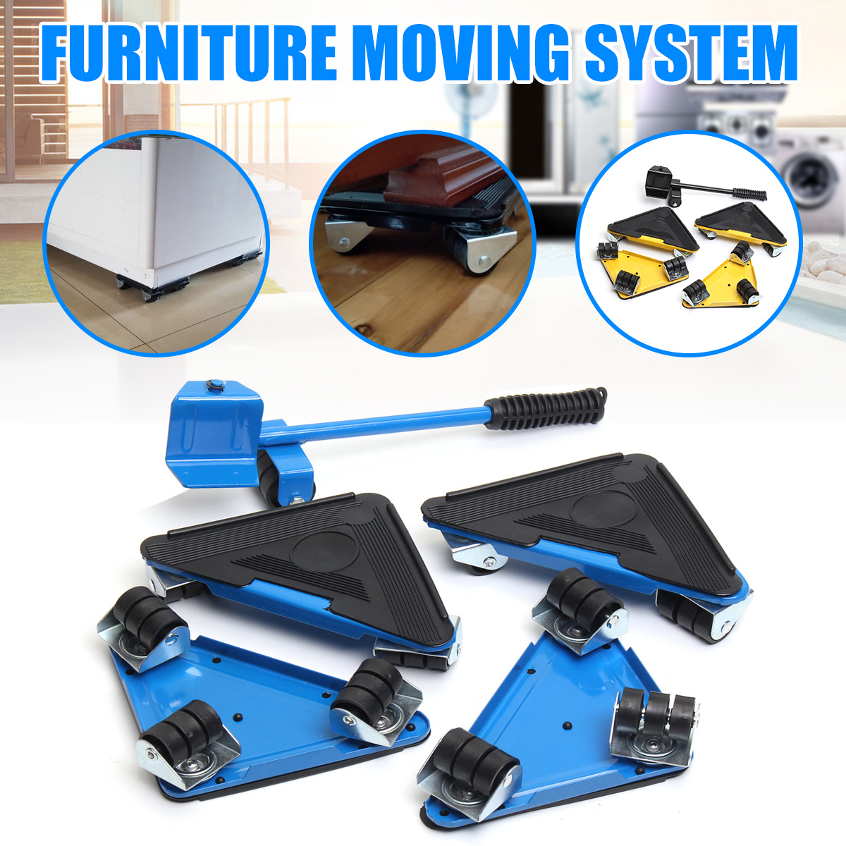 Durable Furniture Moving System With Lifter Tool And 3 Wheels Stable Furniture Moving Heavy Stuffs Moving Tool Home Utilities
