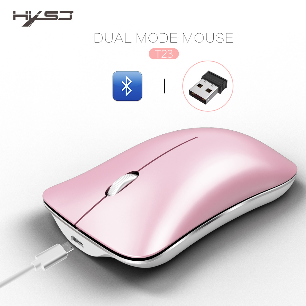 HXSJ Pink Dual Mode Aluminum Alloy Wireless 2.4Ghz + Bluetooth 4.0 Mouse Ultra thin Charging Portable High Class Optical Mice-in Mice from Computer & Office