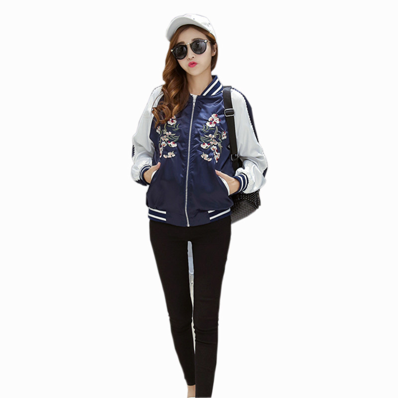 New Harajuku Flower Embroidered Jacket Women Bomber Jackets Contrast Color Floral Coats Fashion Black Blue Pink Outerwear