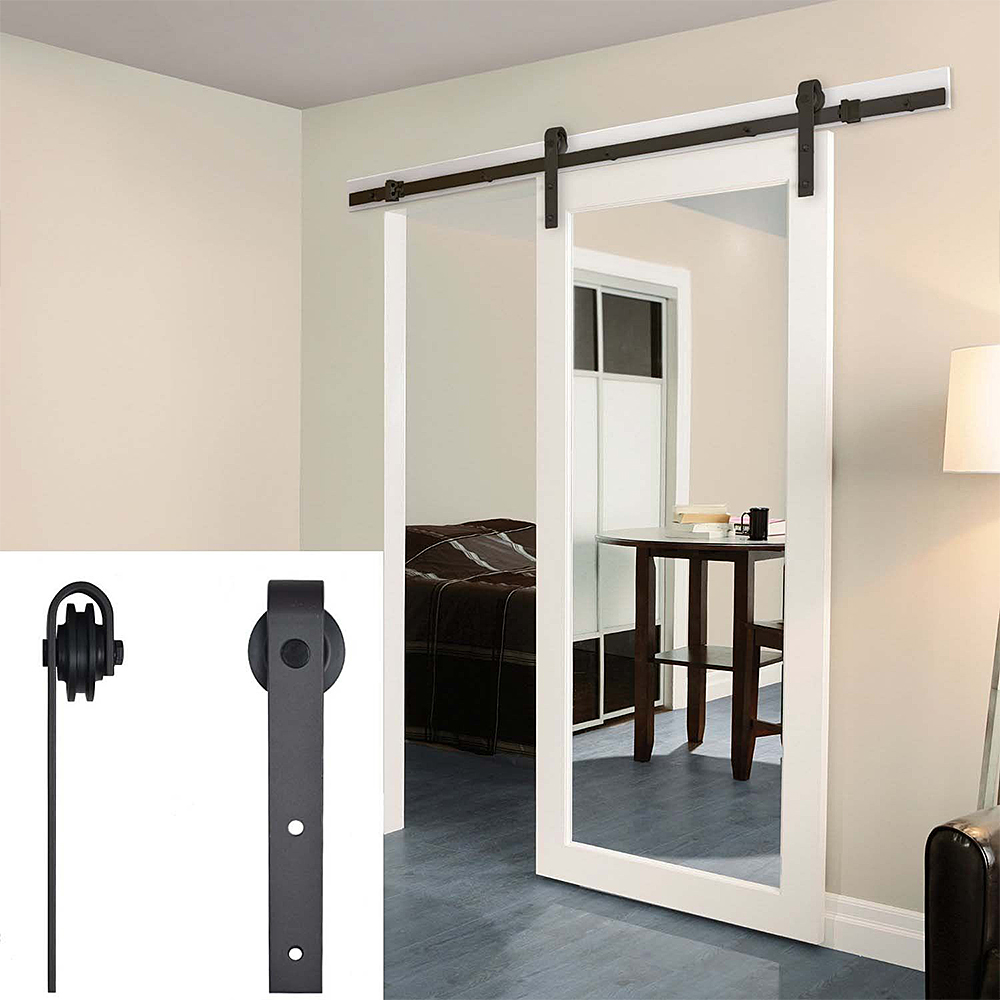 183-200CM Wardrobe Sliding Door Hardware Kit Steel Sliding Barn Door Track Interior Cabinet Closet Sliding Door Hanging Rail HWC