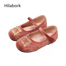 2017 new children's shoes soft-skinned spring girl HOOk & LOOP princess small girl shallow mouth soft bottom small leather shoes