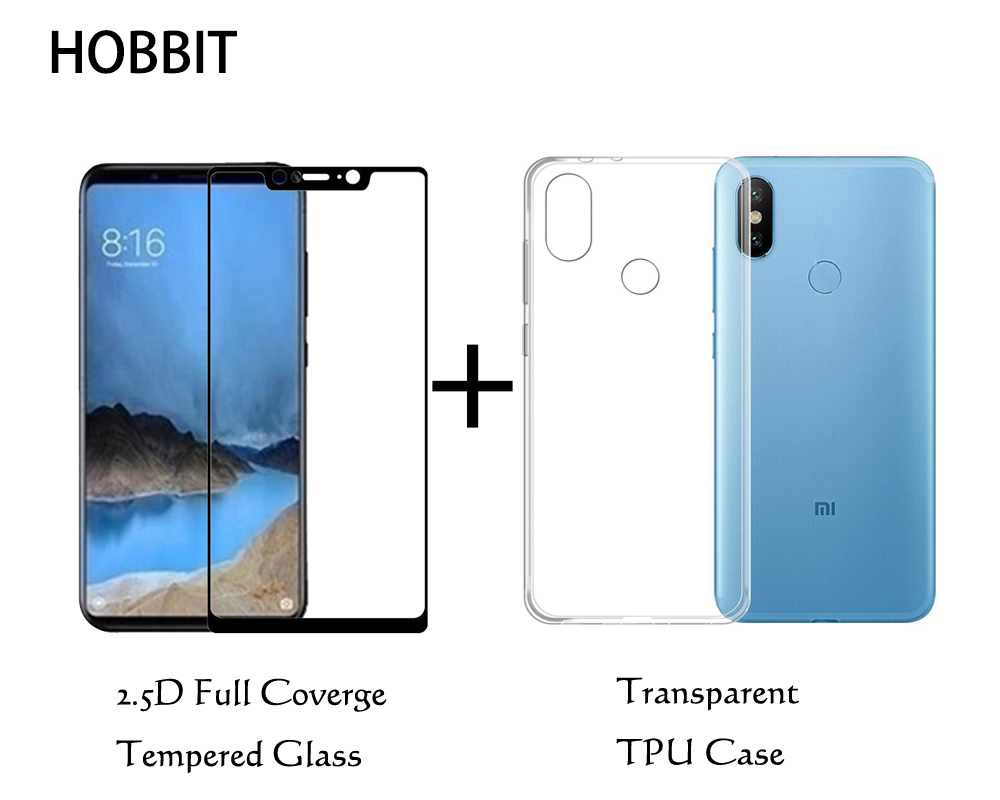 Для Xiaomi mi 8/mi 8 SE/mi 8 Pro/mi 8 Lite Ясно Вернуться ТПУ чехол 0,3 мм полностью покрытое закаленное стекло 2,5 D Экран протектор