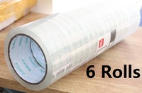 6 Rolls Packing Parcel Clear Transparent Tape Box Carton Sealing 48mm x 55m
