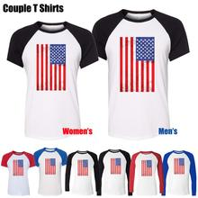 NEW vintage American Flag American Patriotism USA flag Printed Men's Boy's T-Shirt Graphic Blue or Black Sleeve