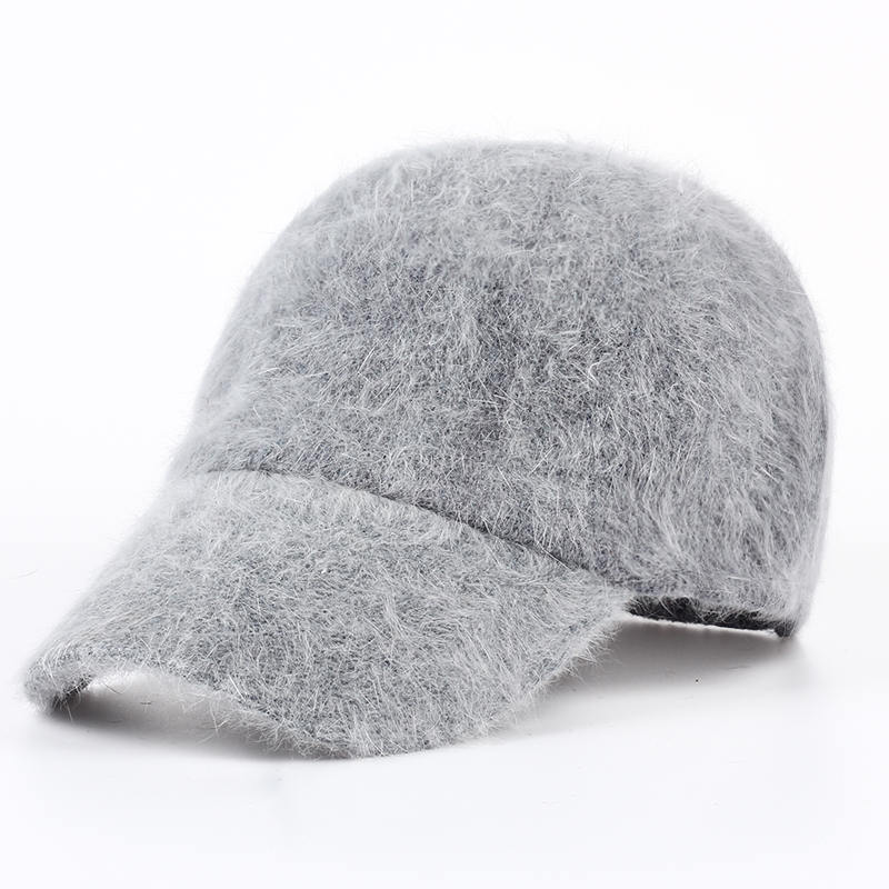 VORON new fashion winter hat candy solid color rabbit fur baseball cap Women's Autumn and Winter cap fashion winter hat solid color woolen flat top cap unisex autumn and winter cap w005