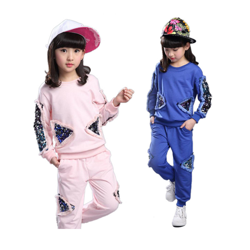 Girls Clothing Sets Spring Autumn Children clothes set Tracksuit Sequined Long Sleeve Sweatshirt+Pants 2pcs Kids Sport Suits retail 2pcs brand new design girls clothing sets for kids autumn tracksuit for girls velvet jacket pants children sport suit