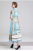 New women's court wind short-sleeved slim printed dress high waist dress  free shipping цена