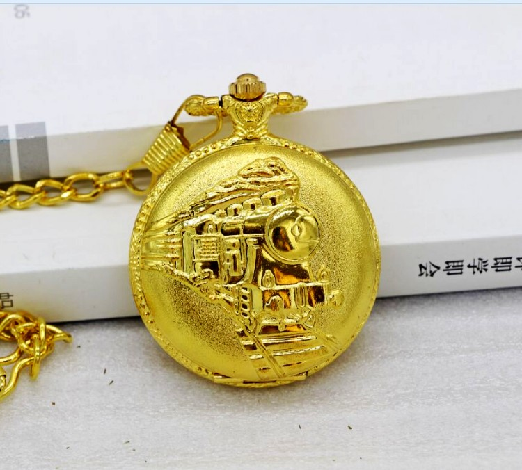 New Arrive High Quality gold Antique Clock necklace chain Big Size Bronze Train Head Pocket Watch With Chain bronze quartz pocket watch old antique superman design high quality with necklace chain for gift item free shipping