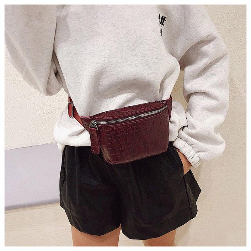 Bolso de la cintura de las mujeres de cuero de la PU de Fanny Pack cinturón de moda bolso de las mujeres bolsa de teléfono negro pecho bolsas niñas hombro mochila b135