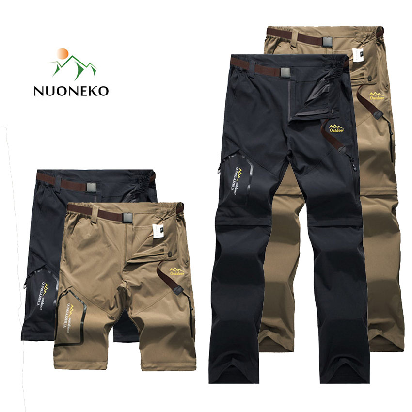 NUONEKO Men's Summer Outdoor Hiking Pants Stretch Quick Dry Pants Mountain Climbing Trekking Fishing Waterproof Trousers CK105