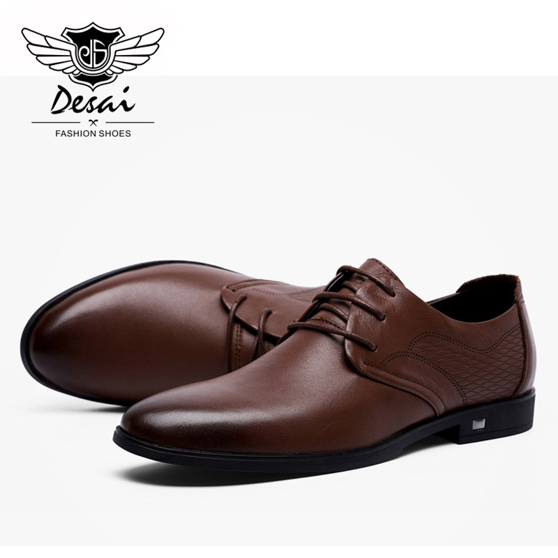 Good Fashion High Quality Men Full Grain Leather Business Lace-up Mens Leather Shoes British S Mens Shoes Oxford Clearance Price Men's Vulcanize Shoes Men's Shoes