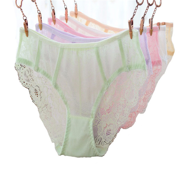 bd9c5e9cef4 Sexy Lace Girl's Panties Briefs Underwear Underpants Seamless Transparent  Teenage Underwear Kids Pants Knickers Solid Colors