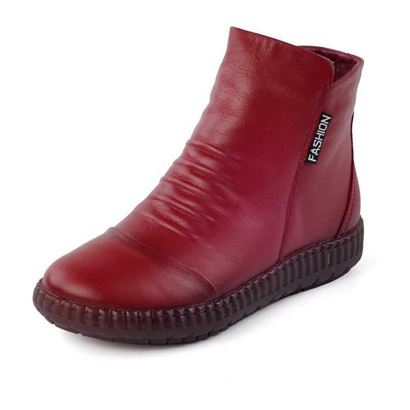 Yeni 2020 sonbahar moda kadınlar hakiki deri çizmeler el yapımı Vintage düz ayak bileği Botines ayakkabı kadın kış botas