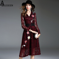 New Arrival Lace Women Dresses 2017 Autumn Fashion Sexy Hollow Out Full Sleeve Floral Embroidery Wine & Blue V-Neck Long Dress