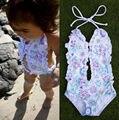 Niñas florales Bebé Dividida Halter Bikini traje de Baño Traje de Baño traje de Baño Traje 1-6