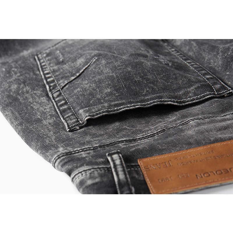 Enjeolon marca primavera calidad larga pantalones vaqueros largos pantalones vaqueros hombre algodón negro hombres denim jeans hombres Causal jeans hombre NZ077