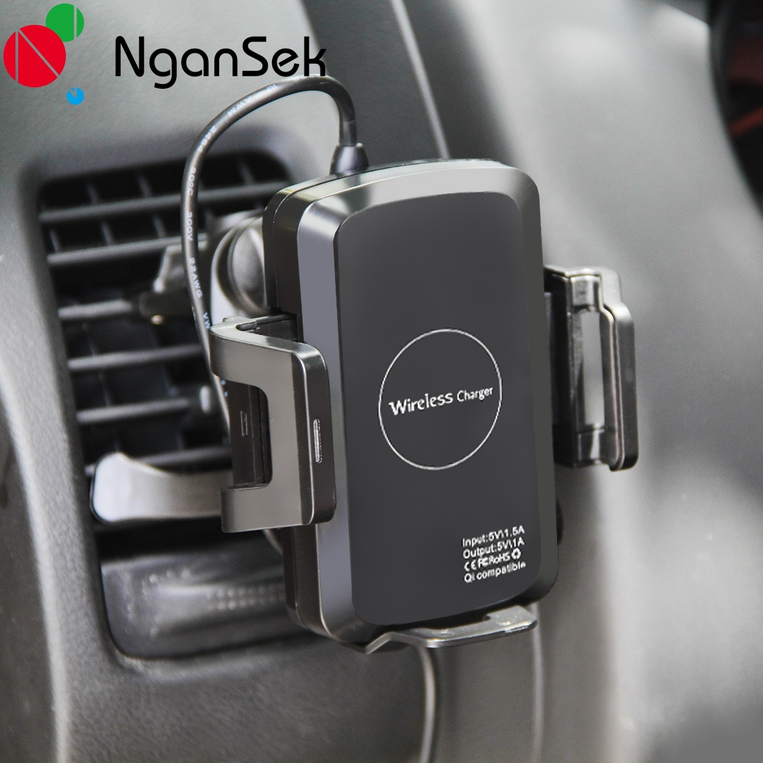 NganSek Qi Car Phone Holder Wireless Charger for iPhone 8