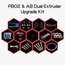 Neue Ankunft 3D Drucker Dual Extruder Upgrade Kit für Zonestar P802N P802M P802Q P802QS A8 Zwei farbdruck Bowen extruder
