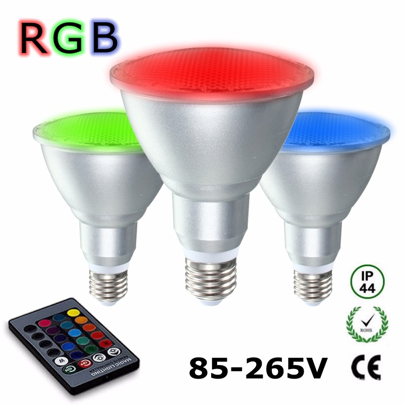 RAYWAY 10W 20W RGB Spotlight Remote Control Aluminum Par30 Par38 Dimmable Spot Light Bulb AC85-265V Bulb