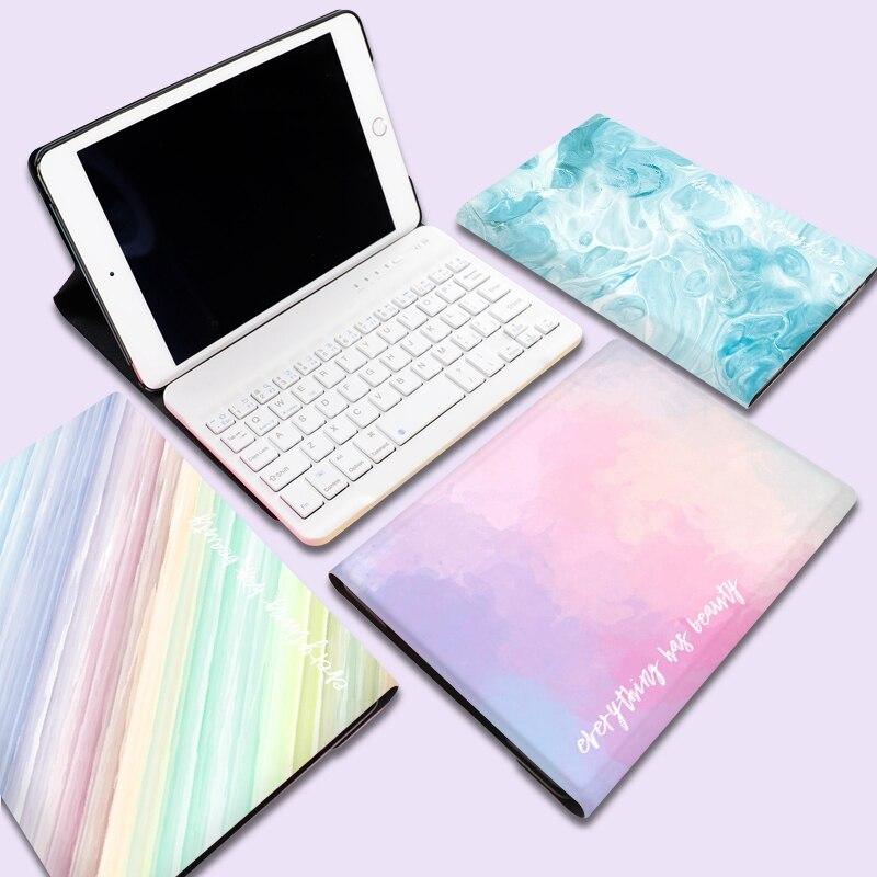 Mini clavier sans fil Bluetooth marbre PU cuir étui pour ipad Air 2 Mini 1 2 3 4 5 nouveau 2017 2018 9.7 Pro 10.5 11 pouces