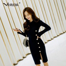 Verlena Fall 2018 Chic Midi Knitted Office Sexy Dress Elegant Women Long  Sleeve O-Neck Bandage Dress Thigh Side Split OL Dresses 75864b39cfce