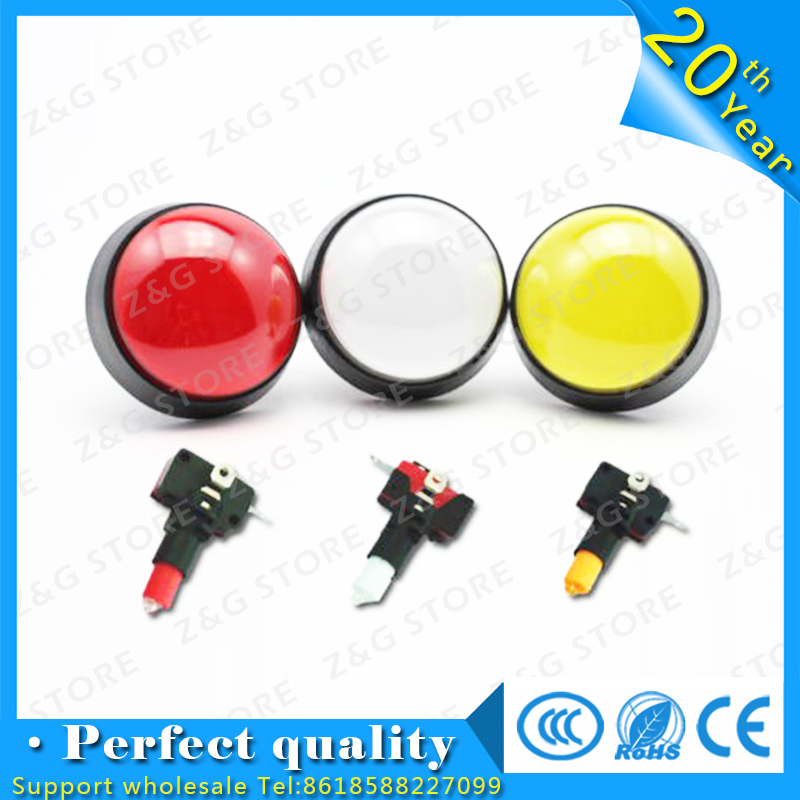 5pcs 60MM New 5 Colors LED Light Lamp Big Round Arcade Video Game Player Push Button Switch