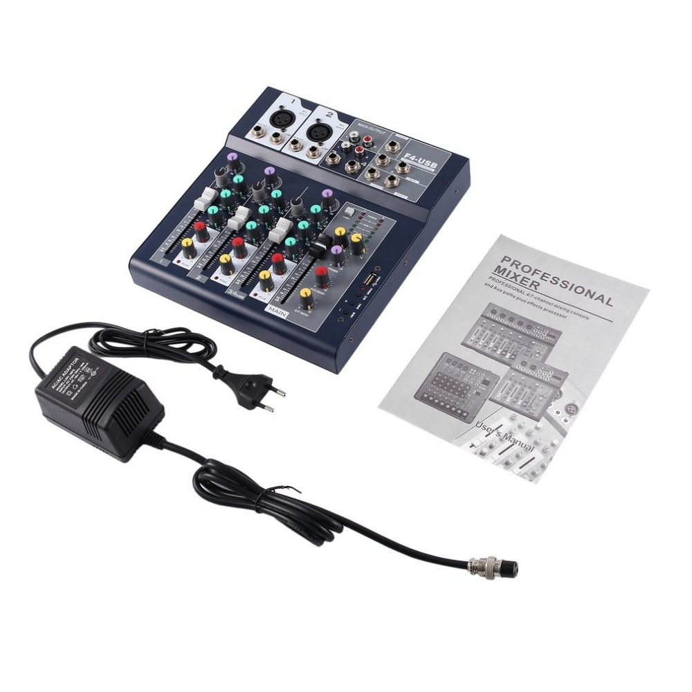Professional 4 Channel Live Mixing Studio Audio Sound Console Network Anchor Portable Mixing Device Vocal Effect Processor