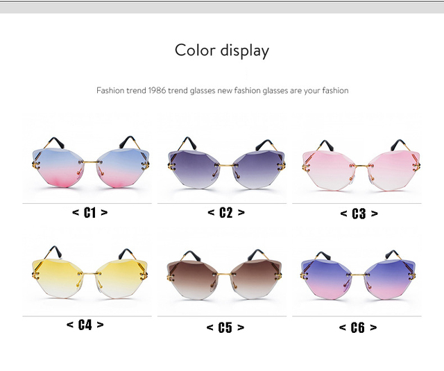 DESIGN Fashion Lady Sun glasses 2019 Rimless Women Sunglasses Vintage Alloy Frame Classic Brand Designer Shades Oculo