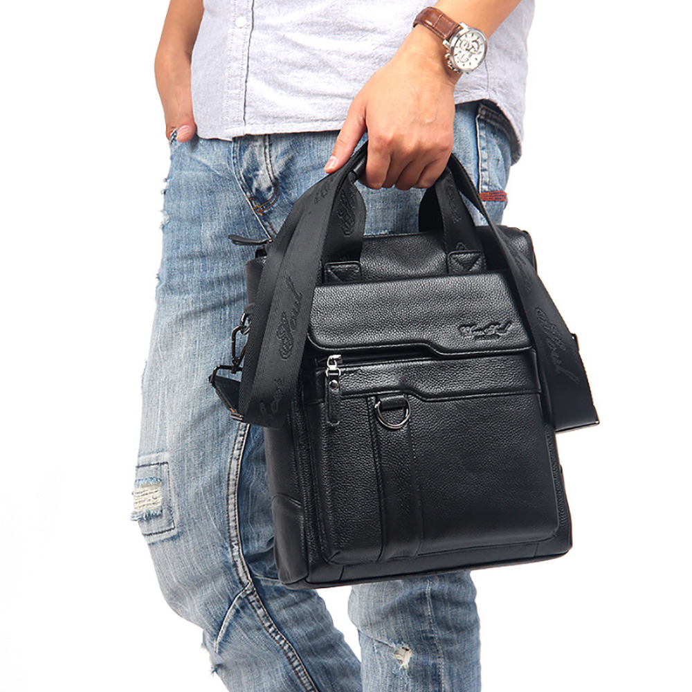 100% Genuine Leather Top Handle Shoulder Male Bag Leather Briefcase Natural Cowhide Messenger Men Cross Body Bag Tote Handbags