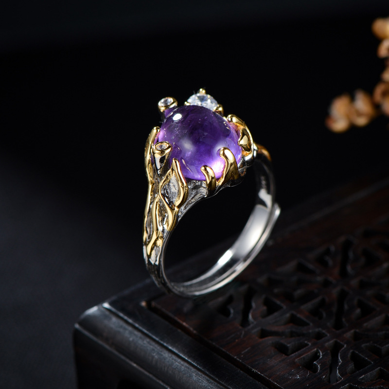 Silvology 925 Sterling Silver Natural Amethyst Rings Original Ethnic Zircon Flower Rings For Women 2019 luxurious