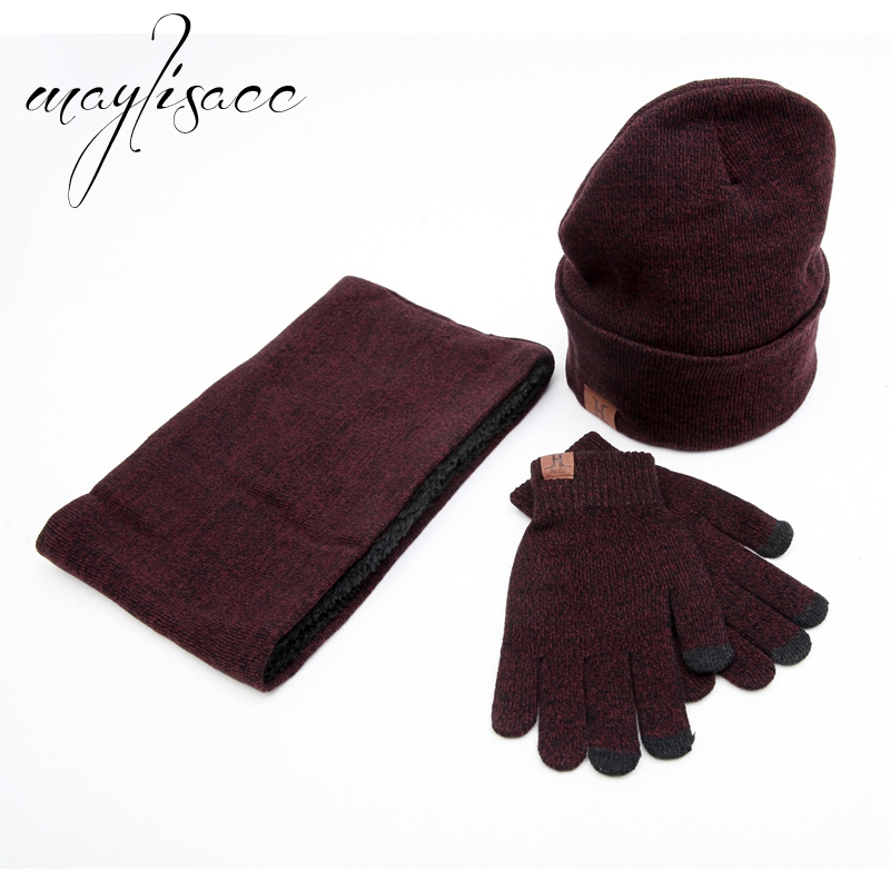 Maylisacc 3 Pcs Cotton Winter Warm Knitted Hat Cap Scarf With Gloves Trouch Screen Gloves Hot For Women Men Fashionable Gift