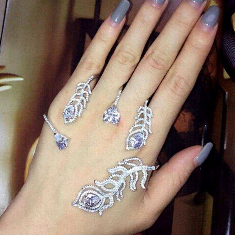 Bracelet de luxe en cristal argent plume Bracelet de paume femmes fille couleur or blanc manchette à la main mode brillant strass Bracelet bijoux - 3