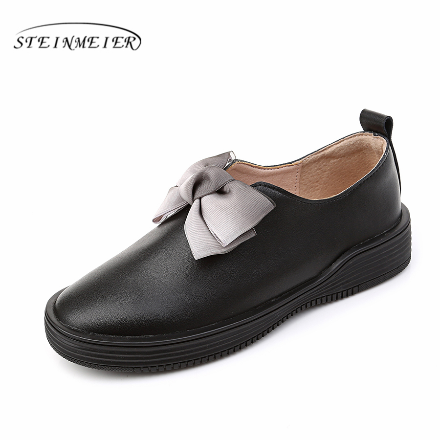 Women's Flats Oxford Shoes Woman Genuine Leather platform Sneakers Ladies Brogues Vintage Casual Shoes For Women Footwear 2020