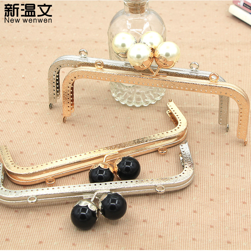 Super lovely 20CM Silver/Gold/Light gold Square With pearl Metal Purse frame Kiss Clasp