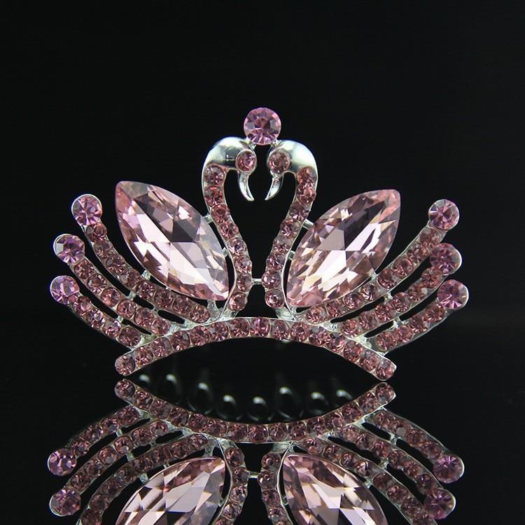Double Swan Hair comb Crown,Clear /Pink /Blue Rhinestone Crystal Wedding Bridal Princess Tiara Crown For Kids Bridal Bridemaid